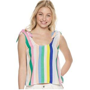NWT SO Juniors Multi Stripe Tie Shoulder Tank Top